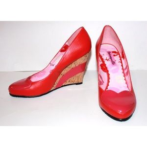 Betsy Johnson Patent Red Pink Heart Wedge Heels